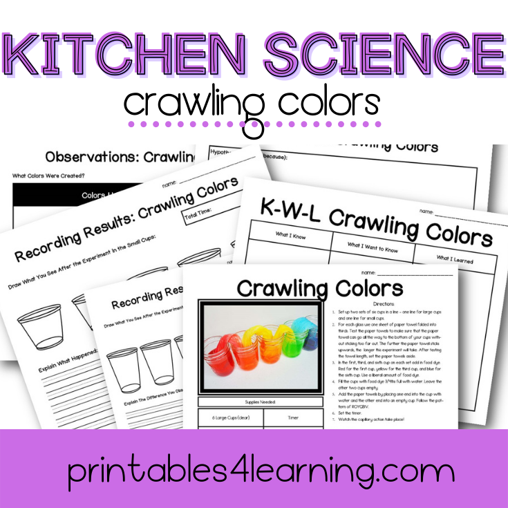 Crawling Colors Science Experiment: Capillary Action Color Mixing - Printables 4 Learning