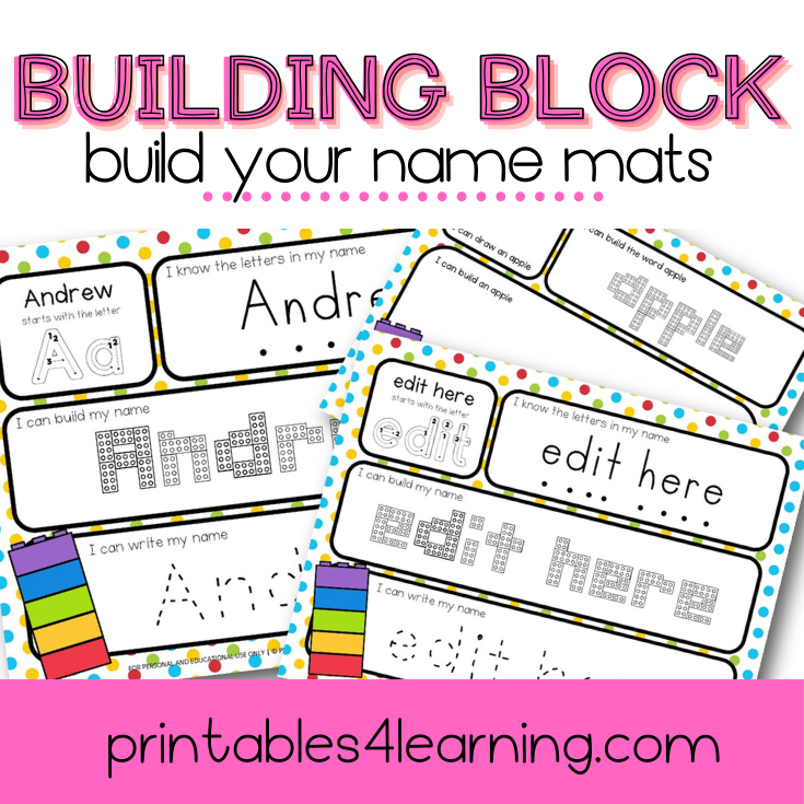Editable Name Activity: Building Block Names - Printables 4 Learning