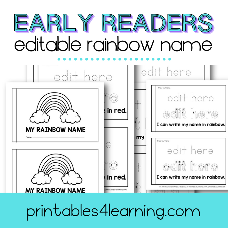 Editable Rainbow Name Early Reader Book - Printables 4 Learning
