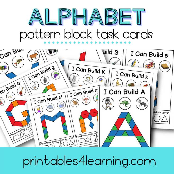 Fine Motor Task Cards: ABC Pattern Block Pack - Printables 4 Learning