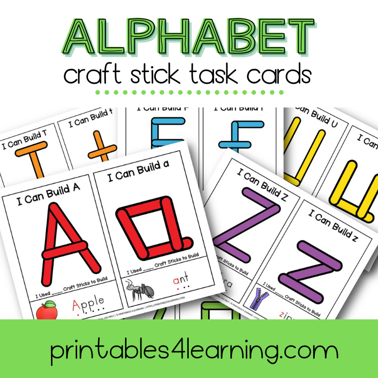 Fine Motor Task Cards: ABC Craft Stick Pack - Printables 4 Learning