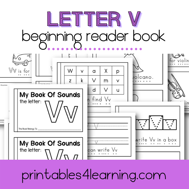Letter V Emergent Reader Coloring Book