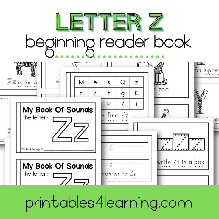 Letter Z Emergent Reader Coloring Book