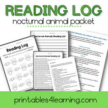 Load image into Gallery viewer, Editable Reading Log: Nocturnal Animal Books for Kids with Parent Handout