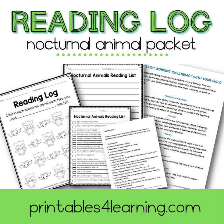 Editable Reading Log: Nocturnal Animal Books for Kids with Parent Handout
