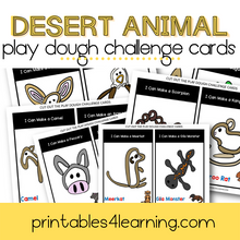 Load image into Gallery viewer, Play Dough Challenge Cards: Desert Animals