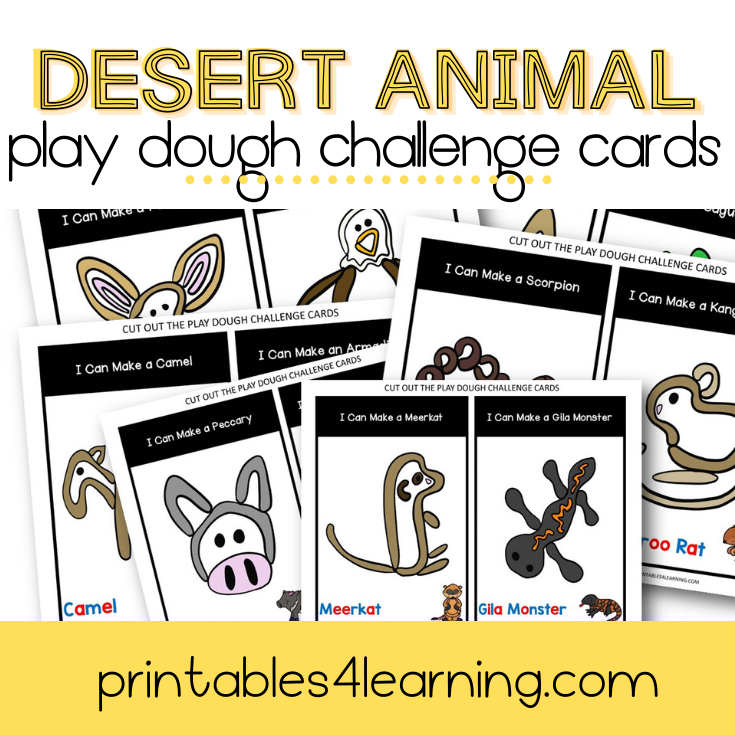 Play Dough Challenge Cards: Desert Animals