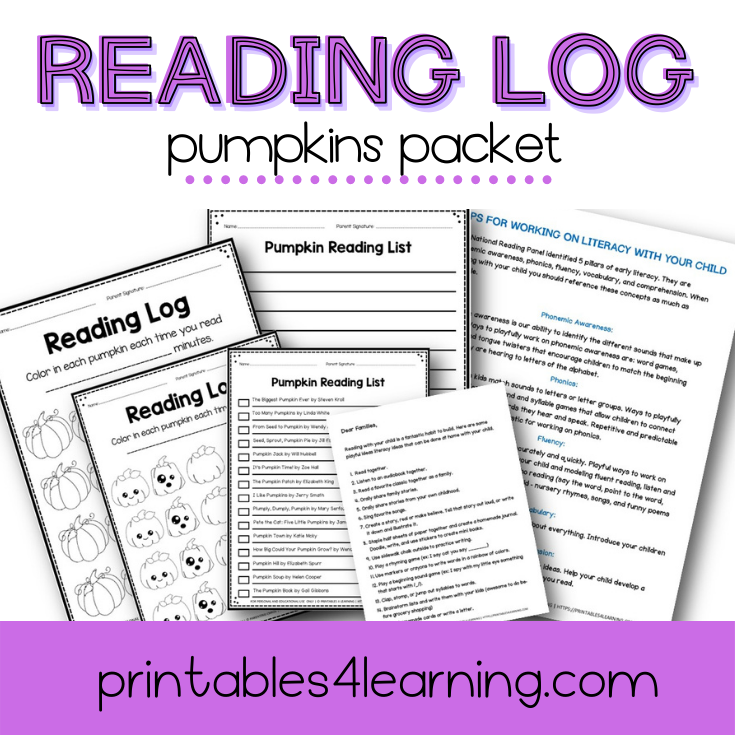 Editable Reading Log: Pumpkin Books for Kids with Parent Handout