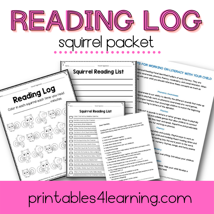 Editable Reading Log: Squirrel Books for Kids with Parent Handout