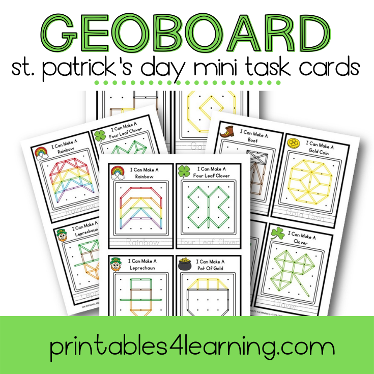 Mini Task Cards: St. Patrick's Day Geoboard Pack