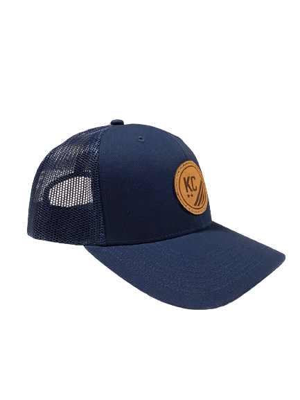 Mesh Snapback Hat with Leather Crest