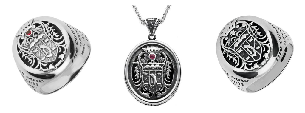 sterling-silver-whitby-jet-dracula-crest-rings-and-necklaces