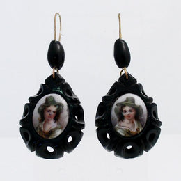 00081921 Whitby Jet Store Whitby Jet Antique Carved Teardrop Coloured Cameo Drop Earrings, EUNQ0000112.