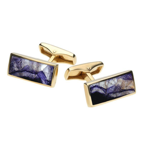 Whitby Jet Store 9ct Yellow Gold Blue John Slim Oblong Cufflinks CL418