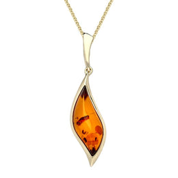 9ct Yellow Gold Amber Curved Marquise Necklace, P3478.