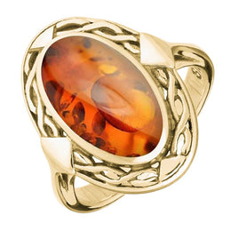 9ct Yellow Gold Amber Oval Celtic Ring, R128.