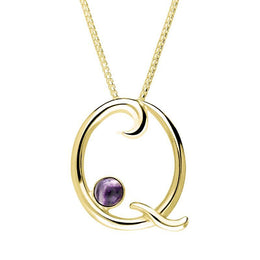 9ct Yellow Gold Blue John Love Letters Initial Q Necklace P3464C
