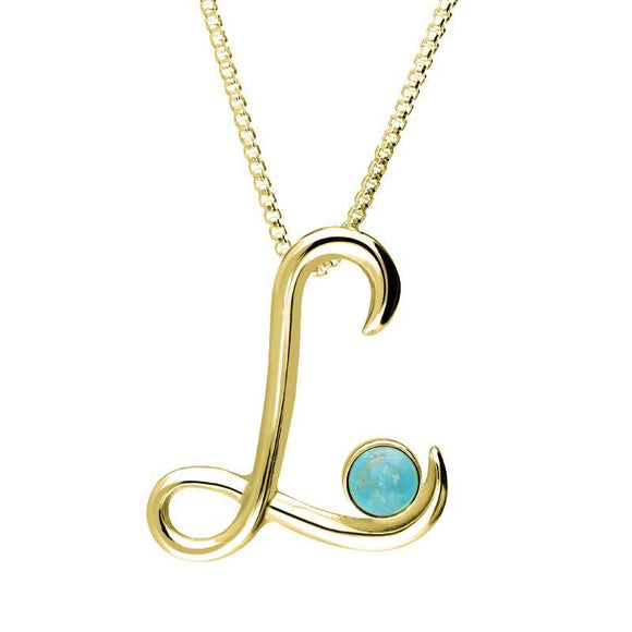 9ct Yellow Gold Turquoise Love Letters Initial L Necklace P3459C