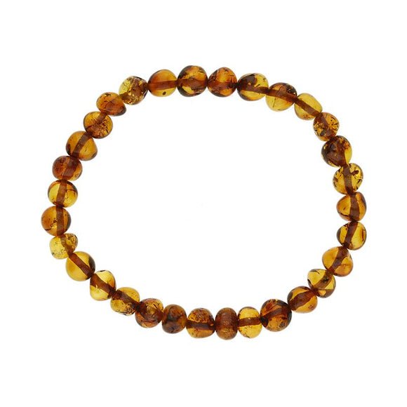 Baltic Amber Beaded Large Stretch Bracelet