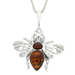 Silver Amber and Cubic Zirconia Wings Bee Medium Necklace P2491