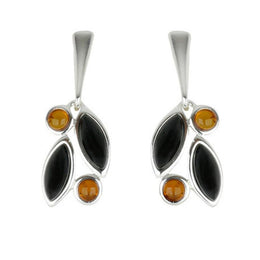 Sterling Silver Baltic Amber Whitby Jet Drop Earrings E1803