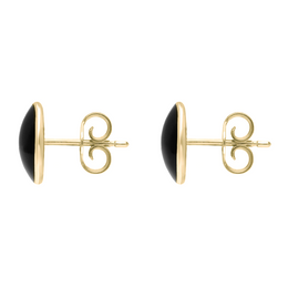Whitby Jet Store 9ct Yellow Gold Whitby Jet Large Classic Oval Stud Earrings. E007