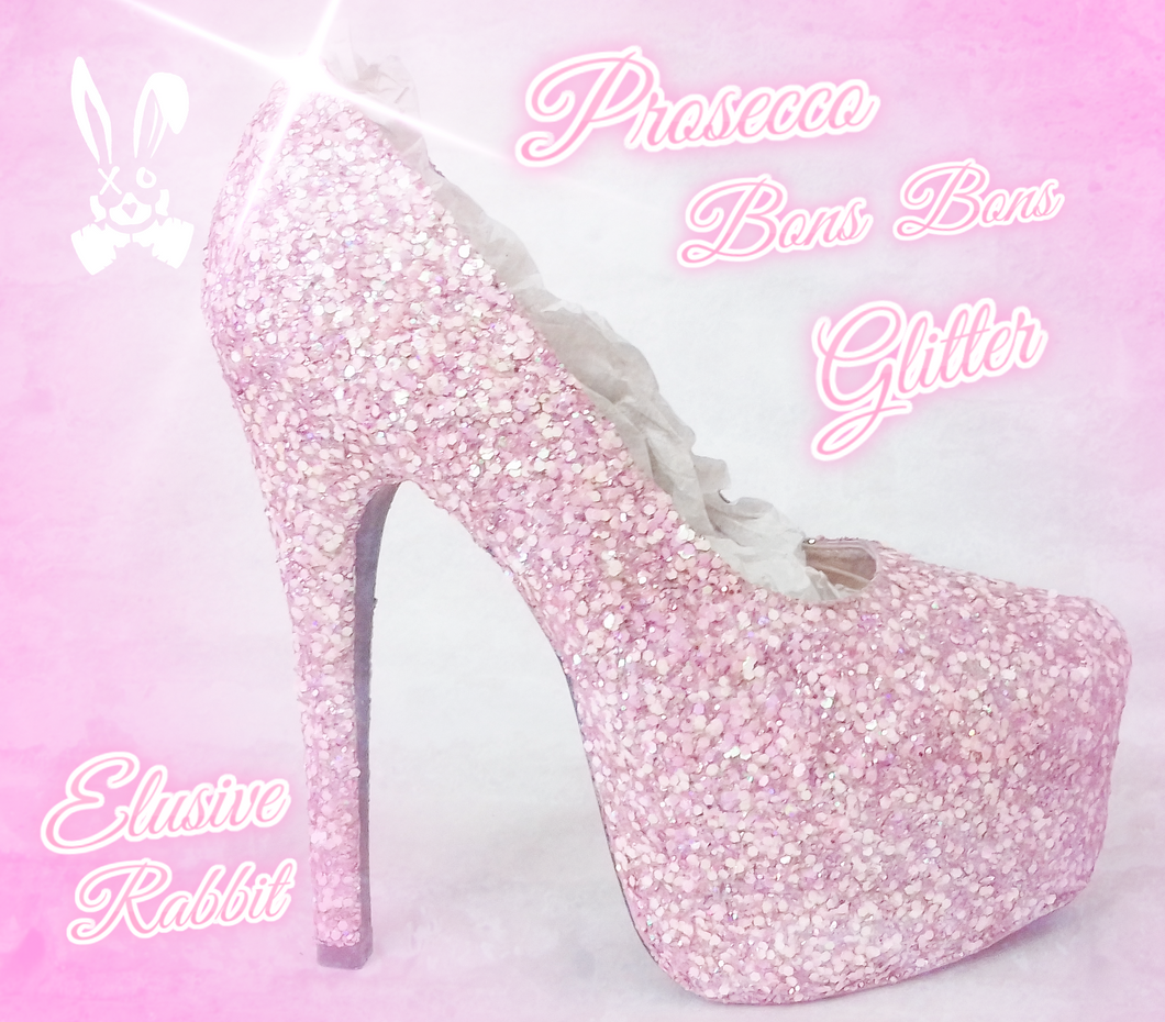 Pastel Baby Pink Bridal  Chunky Glitter Wedding Custom Personalized Women Peep Toe Glitter Shoe High Heel Stiletto Thin Size 3 4 5 6 7 8
