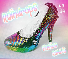 Load image into Gallery viewer, Rainbow Raindrops Scales Wedding Bridal Heel Mermaid Reversible Sequin Fabric Heels Custom Personalized Shoe Size 3 4 5 6 7 8 Party Pride