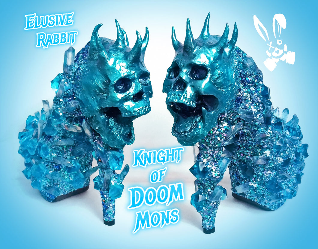 Knight of Doom Mons Heels Blue crystal Quartz Diamond Custom Hand Sculpt Kraken Shoe Size 3 4 5 6 7 8 Glitter Fantasy Bridal Wedding