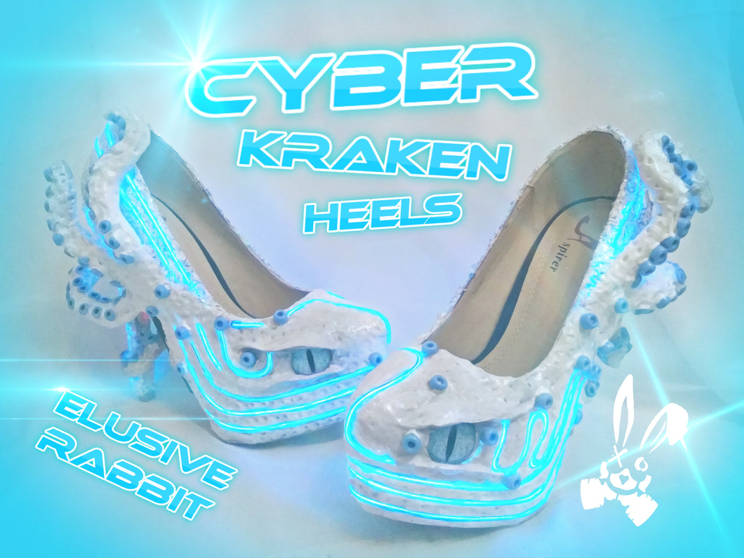 Cyber Kraken Light Up LED Heels Custom Cyberpunk sculpt Shoe Size 3 4 5 6 7 8  High Wedge Sea Abyss Creature Monster Mythical Octopus Squid