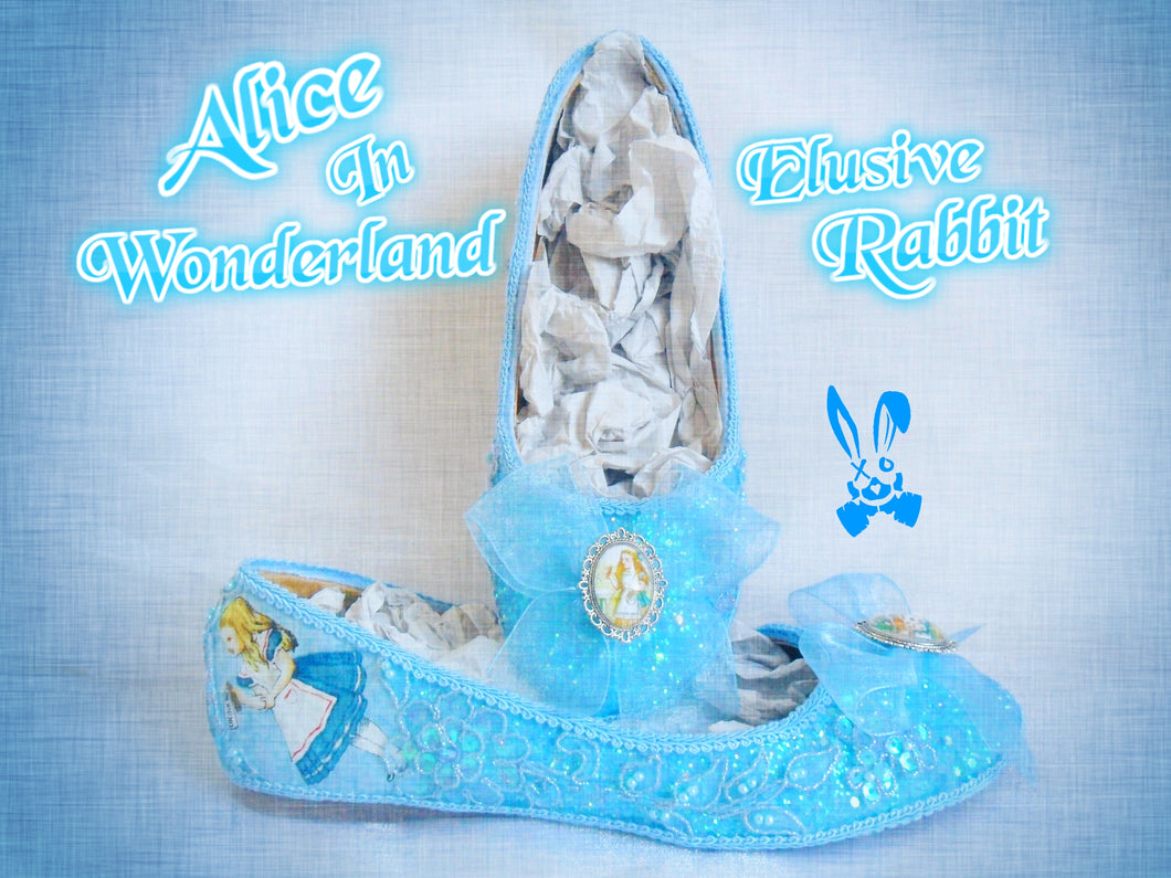 John Tenniel Classic 1865 Alice In Wonderland Sequin Glitter Lace Fabric Custom Dolly Ribbon Blue Shoe Flat Size 3 4 5 6 7 8 Wedding Bridal