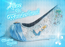 Cargar imagen en el visor de la galería, John Tenniel's Classic 1865 Alice In Wonderland Lace Fabric Flower Custom Heel Ribbon Blue Shoe Size 3 4 5 6 7 8 Wedding Bridal Wedge Women