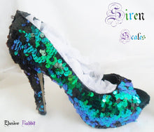 Lade das Bild in den Galerie-Viewer, Siren Scales Mermaid Reversible Sequin Fabric Heels Custom Personalized Womens Shoe High Stiletto Size 3 4 5 6 7 8 Platform Party Christmas
