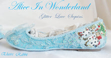Carica l'immagine nel visualizzatore di Gallery, John Tenniel Classic 1865 Alice In Wonderland Sequin Glitter Lace Fabric Custom Dolly Ribbon Blue Shoe Flat Size 3 4 5 6 7 8 Wedding Bridal
