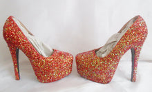 Carica l'immagine nel visualizzatore di Gallery, Autumn Fire Chunky Glitter Custom Personalized Women Handmade Glitter Shoe High Heel Stiletto Thin Size 3 4 5 6 7 8 Platform Party Christmas