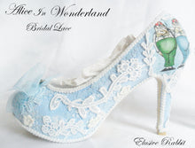 Load image into Gallery viewer, John Tenniel's Classic 1865 Alice In Wonderland Lace Fabric Custom Heel Ribbon Blue Shoe Flat Size 3 4 5 6 7 8 Wedding Bridal Heel UK Women
