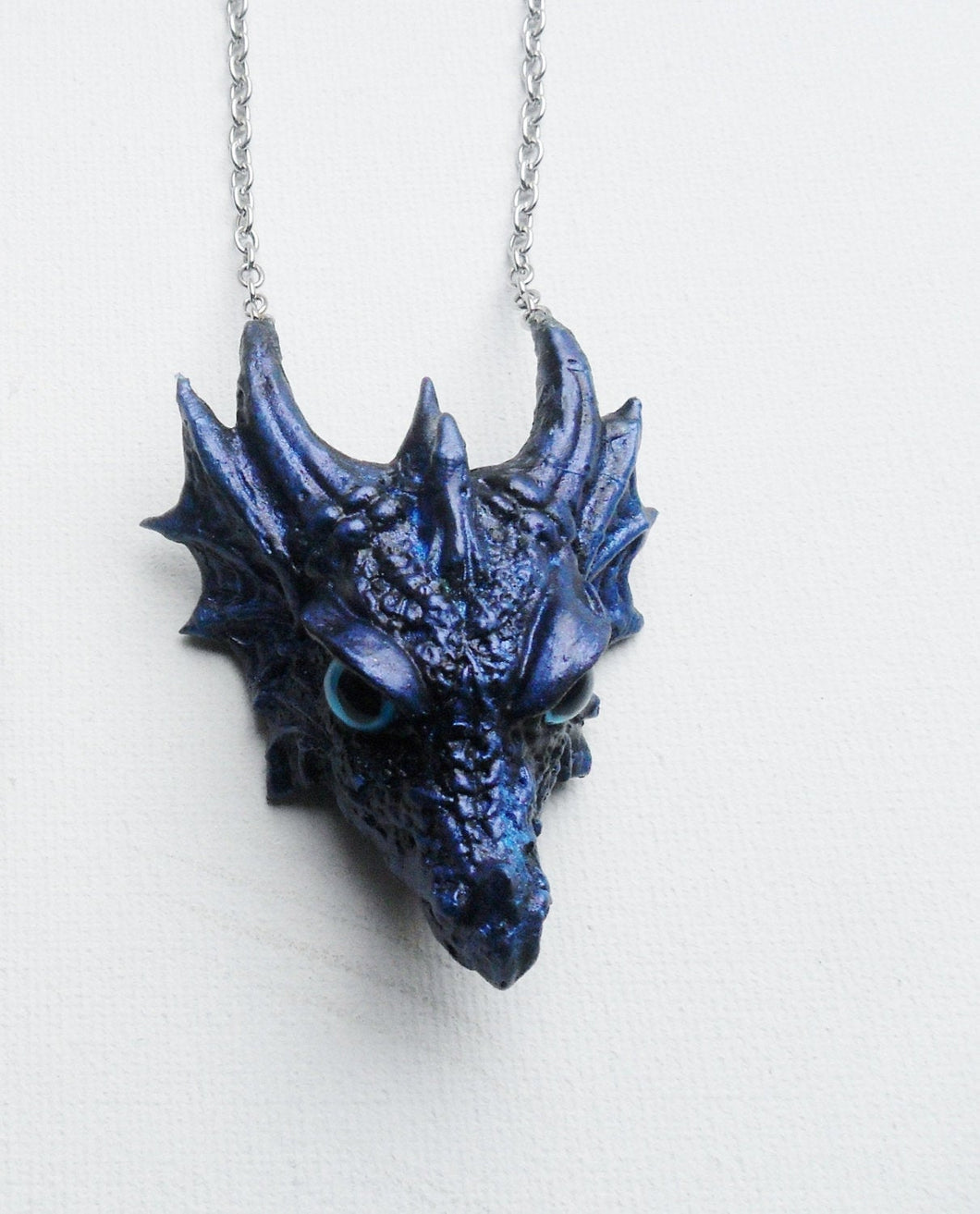 Dragon Head Necklace Custom Hand Sculpt Paint Black Multicolour Adjustable Mens Womens Unisex Jewelry Goth Gothic rockabilly alternative