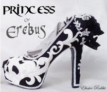 Load image into Gallery viewer, Princess of Erebus Heels PoE Bridal Gothic lace Skull Goth Wedding Custom Shoe Size 3 4 5 6 7 8 Halloween Alternative Kraken Cosplay
