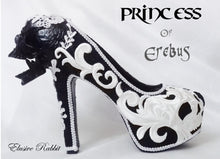 Carica l'immagine nel visualizzatore di Gallery, Princess of Erebus Heels PoE Bridal Gothic lace Skull Goth Wedding Custom Shoe Size 3 4 5 6 7 8 Halloween Alternative Kraken Cosplay