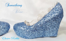Carica l'immagine nel visualizzatore di Gallery, Something Blue Glitter Wedding Bridal Heel Custom Personalized Women Shoe Chunky Size 3 4 5 6 7 8 Wedge Dusky Metallic Steel Cinderella Dark