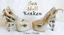Load image into Gallery viewer, The Sea Shell Kraken Heels Custom Hand Sculpt Paint Shoe Size 3 4 5 6 7 8  High Wedge Sea Abyss Creature Monster Mythical Octopus Squid