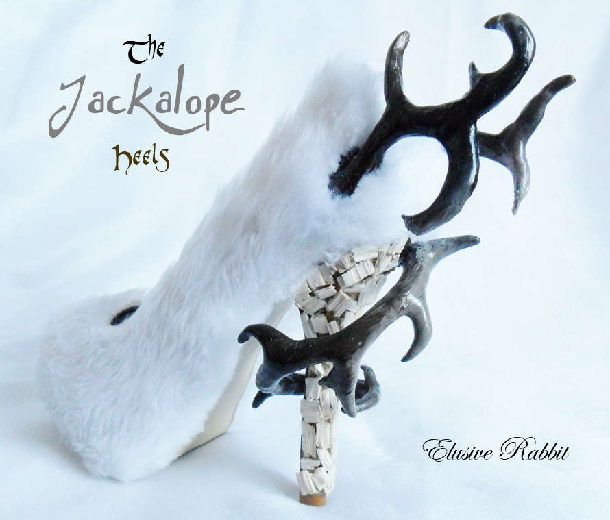 The Jackalope Heels Antlers Horn Fawn Fur White Rabbit Bunny Custom Kraken Sculpt Paint Shoe Size 3 4 5 6 7 8  High Wedge Mythical Deer Stag