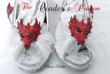 "Carica l'immagine nel visualizzatore di Gallery, The Cinder's Dragon Wedding Lace Bridal Heels Fabric Flower Custom Ribbon Red Fire Shoe Size 3 4 5 6 7 8  UK  Women 3"" Kitten Low Wing"
