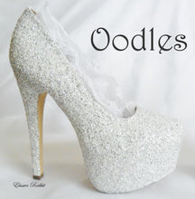 Lade das Bild in den Galerie-Viewer, Oodles Bridal White Silver Chunky Glitter Wedding Custom Personalized Women Peep Toe Glitter Shoe High Heel Stiletto Thin Size 3 4 5 6 7 8