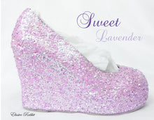 Load image into Gallery viewer, Lilac Lavender Bridal  Chunky Glitter Wedding Custom Personalized Women Peep Toe Glitter Shoe High Heel Stiletto Thin Size 3 4 5 6 7 8