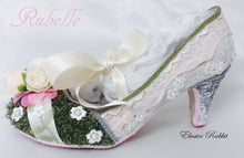 Load image into Gallery viewer, Rubelle 1920 Vintage Heels Foliage Floral Grass Flower Green Lace Fabric Custom Heel Ribbon Ivory Shoe Size 3 4 5 6 7 8 Wedding Bridal Pink