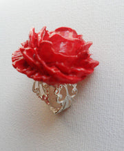 Load image into Gallery viewer, Imperatrice Rose Painting the Roses Red Ring Flower Bud Custom Hand Sculpt Alice in Wonderland Red Adjustable Womens Jewelry Queen of Hearts
