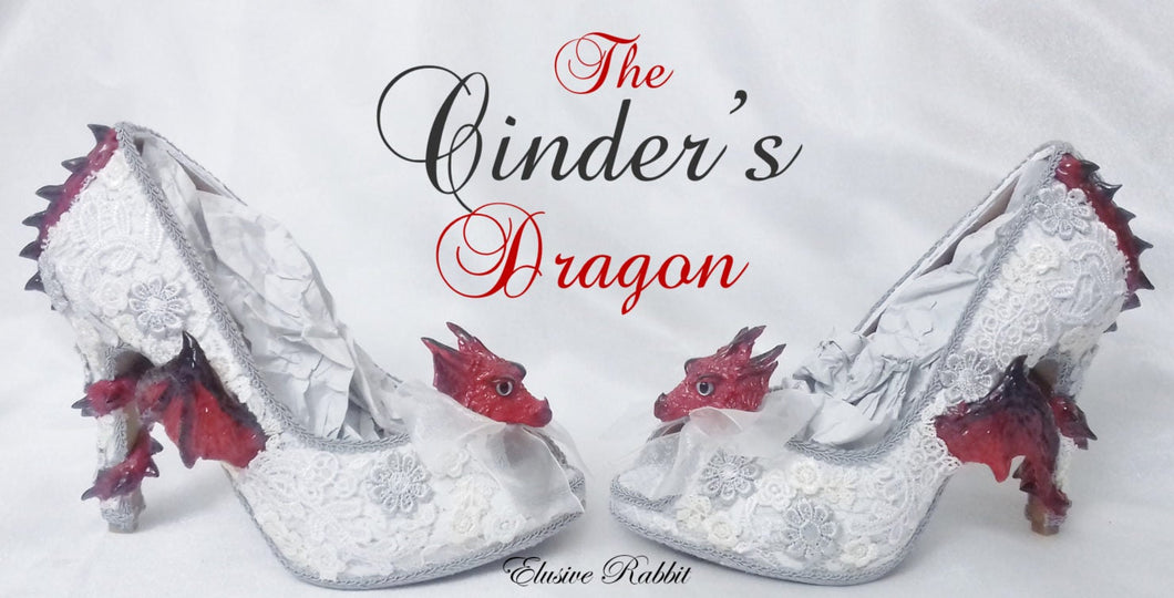 The Cinder's Dragon Wedding Lace Bridal Heels Fabric Flower Custom Ribbon Red Fire Shoe Size 3 4 5 6 7 8  UK  Women 3