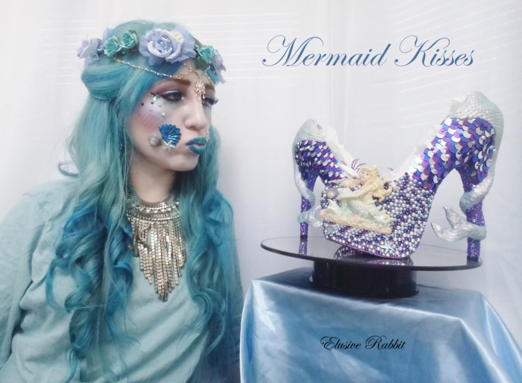 Mermaid Heels Custom Hand Sculpt Paint Purple Blue White Shoe Size 3 4 5 6 7 8  High Platform Pearls Shell Sea Sequins Starfish Plant Clam
