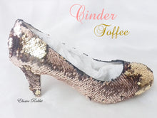 Carica l'immagine nel visualizzatore di Gallery, Cinder Toffee Rose Gold Wedding Bridal Scales Mermaid Reversible Sequin Heels Custom Personalized Shoe High Stiletto Size 3 4 5 6 7 8 Party